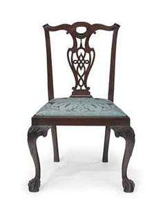 A CHIPPENDALE CARVED MAHOGANY HAIRY-PAW SIDE CHAIR  BOSTON, 1760-1785  seat frame marked VI, with its original slip seat marked VI  37 in. high