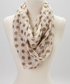 Cream & Olive Polka Dot Infinity Scarf | Daily deals for moms, babies and kids