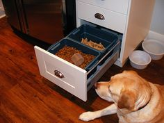 Dog food drawer. I guess if you can't renovate your kitchen and have one of those really cool built in drawers that I have posted then this would be the next best thing.