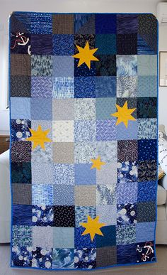 another southern cross on blue - managed to sneak in a couple of anchors for this sailor! Cross Quilt, Quilted Wall Hangings, Applique Quilts, Anchors, Baby Quilts, Quilt Patterns, Sailor, Projects To Try, Southern