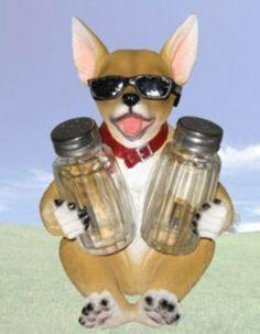 """Cool Spice"" Chihuhua Salt and Pepper Shaker Set by DWK. $17.99. Chihuahua Salt and Pepper Shaker Set. Made of Polyresin. ""Cool Spice"". 6.75"". ""Cool Spice"", Chihuahua Salt and Pepper Shaker Set, 7.25"", Made of Polyresin"