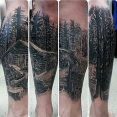 You can capture an entire mood with one scene. | 33 Stunning Landscape Tattoos That Will Remind You Of Home