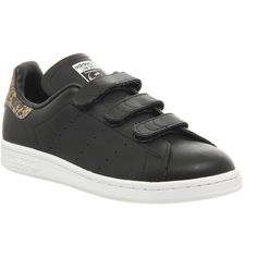 Adidas Stan Smith Cf (£70) ❤ liked on Polyvore featuring shoes, core black snake, trainers, unisex sports, sports shoes, unisex shoes, adidas shoes, black sports shoes and adidas footwear