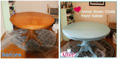 Annie Sloan Chalk Paint Table in Provence Blue.  Easy steps to paint your own furniture!