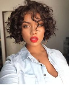 Short wavy bob wigs for black women wavy bob hairstyles human hair wigs lace front wigs short curly bob hairstyles Curly Bob Hairstyles, African Hairstyles, Curly Hair Styles, Natural Hair Styles, Hairstyle Short, Black Hairstyles, Easy Hairstyles, Hairstyles 2016, Pixie Haircuts