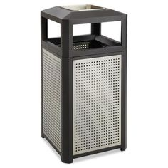 Safco Products Evos Series Ashtray-Top Waste Container Gallon Capacity: 38
