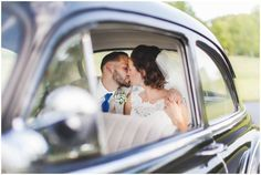 Gorgeous Bride and Groom poses for wedding day photography! Amazing vintage car wedding photos!