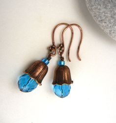 Cerulean blue & copper earrings of fluted bead by MadMamaMiller