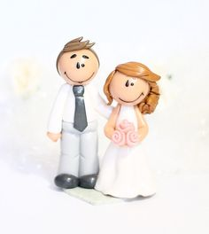 "Mini figurine de mariage ""Anna""  wedding cake topper / figurine de mariage / figurine pièce montée / figurine personnalisée / fimo / polymère"