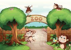 Illustration of monkeys in zoo and a green nature Poster Cartoon Zoo Animals, Cute Animals, Jungle Activities, Zoo Tickets, Tiger Sketch, Zoo Park, Kids Zoo, Tropical Background, Nature Vector