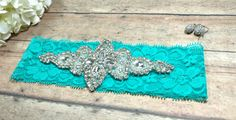 Rhinestone Garter, Bling Garter, Turquoise Garter, Garter, Wedding Garter, Bridal Shower Gift, Brides Garter, Keepsake Garter, Bride by BloomsandBlessings on Etsy