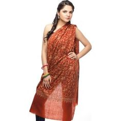 Picante-Brown Pure Pashmina Shawl with Intricate Kashmiri Sozni Embroidery by Hand All-Over - 100% P