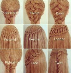 All types of braids #Wedding #ideas #pmtsslc #hair #style #paulmitchellschools #ponytail #braid #braidedhair #braids #fishtail #waterfall #dutch #lace #twist #feather #ladder #french