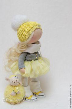 Купить Лимонная малышка + овечка - лимонный, серый, кукла, коллекционная кукла, коллекционные игрушки