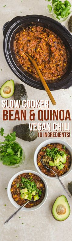 Vegan Slow Cooker Bean & Quinoa Chili (10 Ingredients!) - From My Bowl