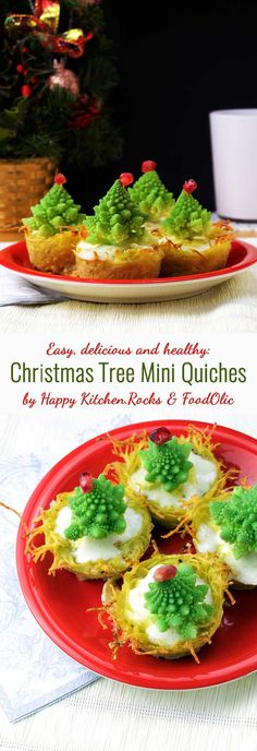 Christmas tree mini quiches recipe is easy, delicious and healthy! These potato-based fluffy mini quiches will make an impressive appetizer for your holiday table!