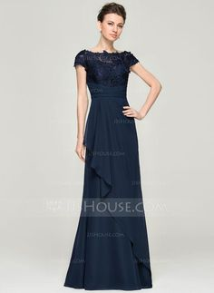 A-Line/Princess Off-the-Shoulder Floor-Length Cascading Ruffles Zipper Up Cap Straps Sleeveless No 2015 Dark Navy Spring Summer Fall General Plus Chiffon Lace Mother of the Bride Dress Mob Dresses, Fashion Dresses, Bridesmaid Dresses, Dresses With Sleeves, Lace Evening Dresses, Evening Gowns, Mother Of The Bride Plus Size, Chiffon, Mother Of Groom Dresses