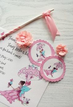 DIY hand-glittered mini paper pom fairy flower wands