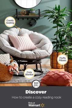 Create a cozy reading nook with a new Papasan Chair from Better Homes & Gardens at Walmart. #fall #readingnook #homedecor #cozyreadingnook #cozycorner #fallstyle #fallideas #livingroom #familyroom