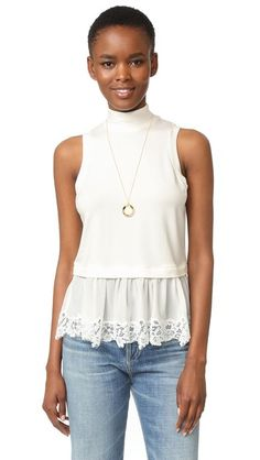 Rebecca Taylor Sleeveless Top with Lace