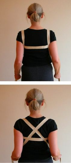 How to use a long yoga strap to help move your shoulders back and down - reducing stiff shoulders, sore necks and upper back pain.      Absolutely love this / great for desk sitting repair!