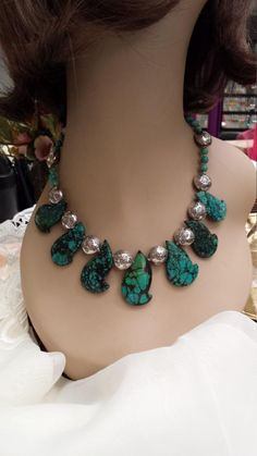 No Dye Double Strand Chrysocolla Bead Necklace Huge Statement Chrysocolla Pendant Rich Turquoise Pattern-Blues and Greens Natural Stone