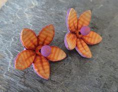 Orange Earrings with purple stamens