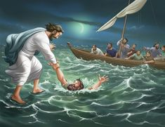 Jesus rescuing Peter from drowning
