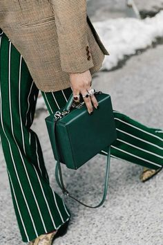 dark green for fall box bag and striped pants