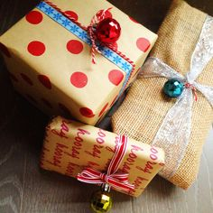 #Wrapping with baker's twine, burlap (perfect for soft gifts like socks), and little ornaments instead of bows #dollarsection #crafts #xmas