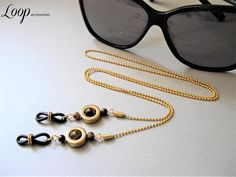 Gold Eyeglass Chain/Tiger Eye & Hematite/Glasses Chain/Glasses