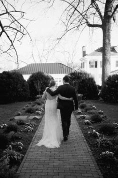 A beautiful couple after their ceremony in the Boxwood Garden!