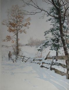 Walter Launt Palmer (American 1854-1932) - Hunter and Fence, 1894
