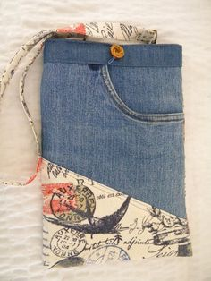 Original hand made OOAK recycled denim and postage print EBook reader or bag by SarahYsCottage,
