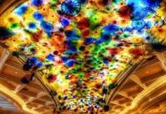 Bellagio, Las Vegas, United States: The world's largest glass sculpture in the world was created by Dave Chihuly which is on display on the ceiling of the Bellagio in Las Vegas, Nevada. Smaller individual scupltures are displayed together to create this sculpture that seems to extend effortlessly across the ceiling.
