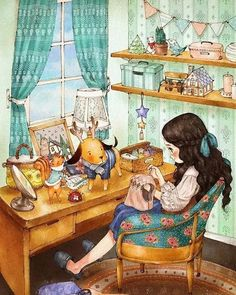 Sewing Art Pictures Life 63 Ideas For 2019 Cartoon Kunst, Cartoon Art, Girl Cartoon, Cute Cartoon, Poster Print, Images Vintage, Forest Girl, Holly Hobbie, Sewing Art