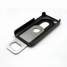 BLACK SILVER BEER BOTTLE OPENER SLIDE IN/OUT CASE COVER FOR APPLE iPHONE 4S 4 4G: Cell Phones & Accessories