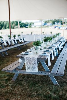 Photo from Alyssa + Patricks Brookin Maine  Maine wedding coordination  Take Off Events Picnic tables Wedding collection by Sarah Morrill Photography