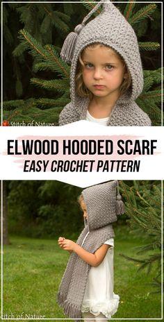 crochet The Elwood Hooded Scarf pattern - easy crochet scarf pattern for beginners Crochet Hooded Cowl, Hooded Scarf Pattern, Crochet Kids Scarf, Crochet Girls, Crochet Baby Hats, Cute Crochet, Crochet Scarves, Crochet For Kids, Crochet Shawl