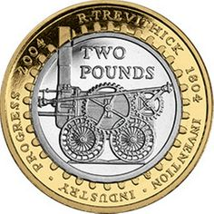 This coin pays tribute to the first steam locomotive engine 'Pennydarren' which was built by mining engineer Richard Trevithick in Rare 50p Coins Value, Old Coins Value, Rare British Coins, Rare Coins, Mint Coins, Silver Coins, English Coins, Valuable Coins, Coin Design