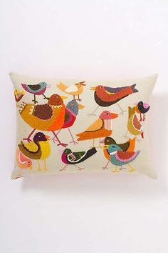 Handstitched Attic Birds Pillow - anthropologie.com