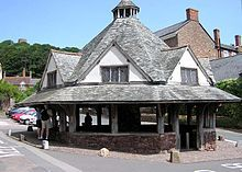 The Dunster Yarn Market was built in 1609 for the trading of local cloth.