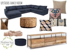 Transitional boho navy and blush living room design board - Modern Living Room Furniture Sale, Living Room Area Rugs, Eclectic Living Room, Living Room Seating, Room And Board Living Room, Furniture Stores, Blush Living Room, Boho Living Room, Small Living Room Design