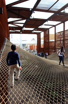 Brazil's Expo pavilion contains a bouncy landscape of rope