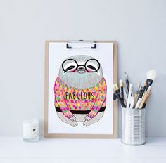 Sloth print // Art // Illustration // Home Decor // Custom Colours // FABULOUS // sloth in a sweater // Art Print // A4 //