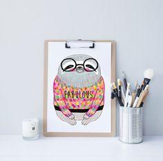 Sloth print // Art // Illustration // Home Decor // Custom Colours // FABULOUS // sloth in a sweater // Art Print // A4 //
