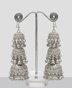 Shining Silver Jhumka Earrings : Online Shopping, - Shop for great products from India with discounts and offers, Indian Clothes and Jewelry Online Shop Indian Jewelry Earrings, Silver Jewellery Indian, Jewelry Design Earrings, Indian Jewellery Design, Mughal Jewelry, Jewelry Bracelets, Indian Bangles, Ethnic Jewelry, Boho Jewelry