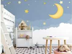 Hand Painted Stars Night Sky Clouds Wallpaper Wall Mural, Cartoon Stars with Moon Children's Room Bedroom Kds Children Nursery Wall Mural Cloud Wallpaper, Paper Wallpaper, Self Adhesive Wallpaper, Peel And Stick Wallpaper, Stars Night, Nursery Wall Murals, Cleaning Walls, Traditional Wallpaper, Sky And Clouds