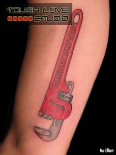 "Caveat Emptor (""Let the Buyer Beware"") Pipe Wrench Tattoo | Mo Elliott | Tough Love Studio"