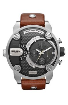 DIESEL® Large Multifunction Chronograph Leather Strap Watch available at #Nordstrom